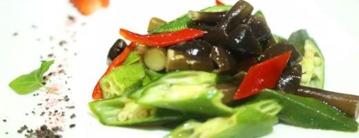【舌尖上的素食】有机秋葵炒鸡枞菌